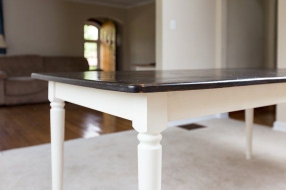 Dark Walnut Rustic Dining Table – Farm Style Solid Pine Wood Kitchen Inside Bale Rustic Grey Dining Tables (Image 4 of 25)