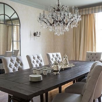 Dark Wood Dining Table With Gray French Dining Chairs – French Inside Black Wood Dining Tables Sets (View 12 of 25)