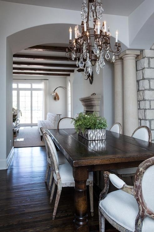 Dark Wood Dining Table With Gray French Dining Chairs – French Throughout Dark Wood Dining Tables (Image 9 of 25)