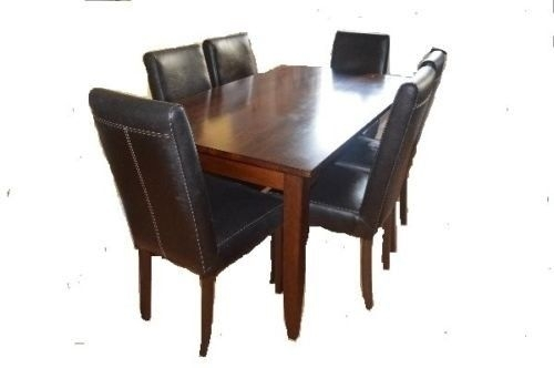 Dark Wood Dining Table With Removable Legs And 6 Highback Dark Brown Pertaining To Dark Brown Wood Dining Tables (Image 14 of 25)