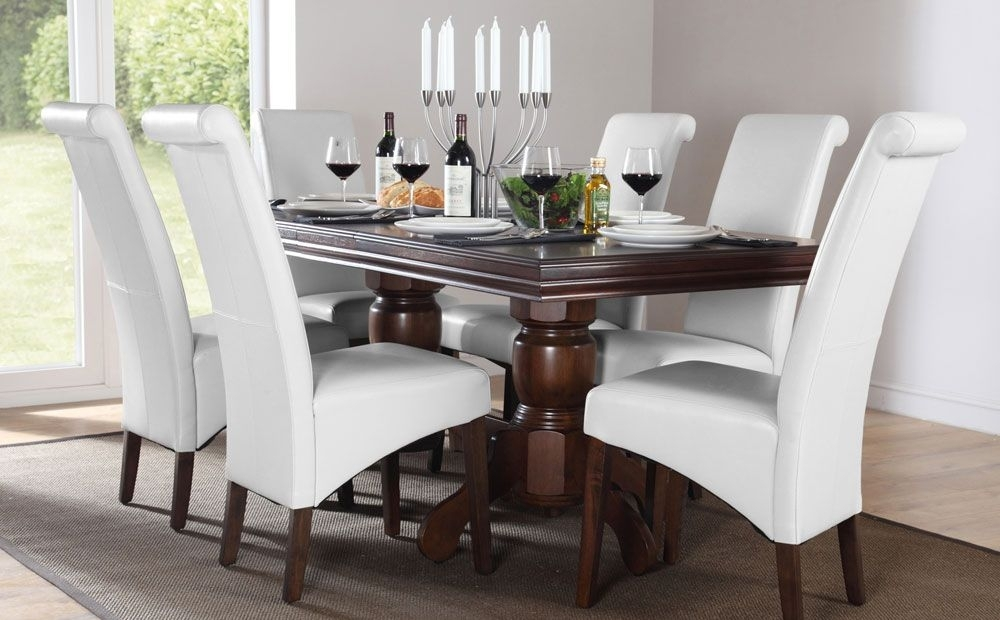 Dark Wood Dining Table With White Upholstered Chairs | Your Pertaining To Dark Wooden Dining Tables (View 8 of 25)
