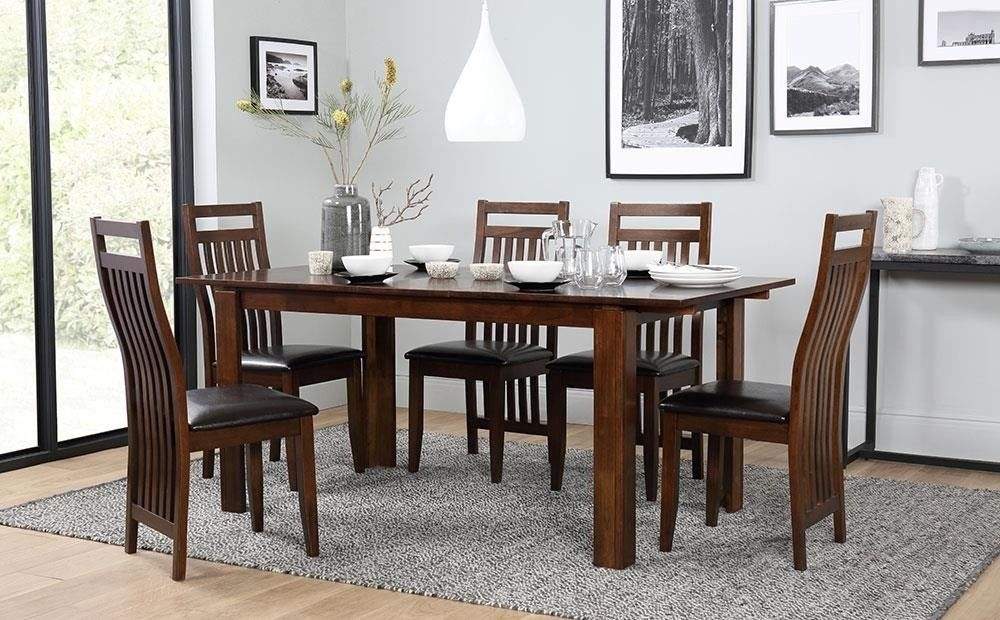 Dark Wood Extending Dining Table With 6 Chairs | In Redditch With Regard To Dark Wood Dining Tables 6 Chairs (View 9 of 25)