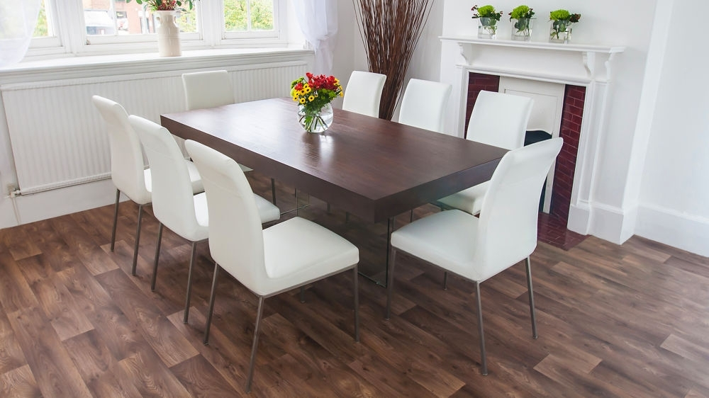 Dark Wood Funky Dining Set | Glass Legs And Chunky Table Top With Regard To Dark Wood Dining Tables (Image 12 of 25)