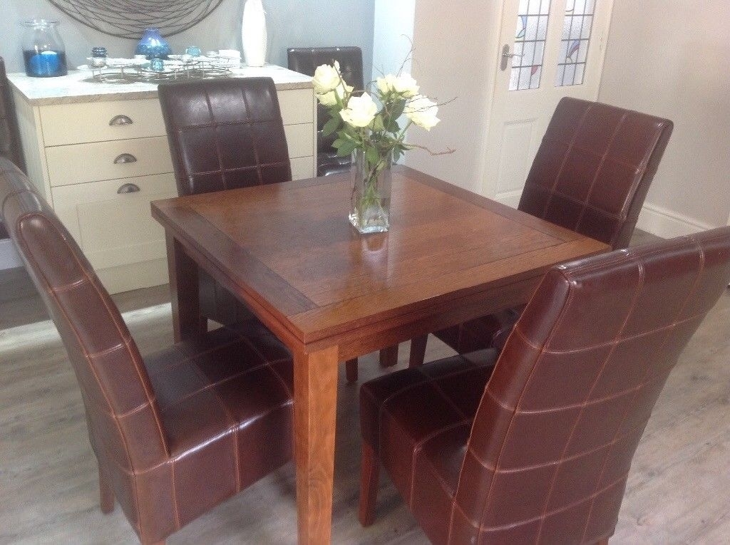 Dark Wood G Plan Extendable Dining Table And 6 Leather Chairs   In Pertaining To Dark Wood Dining Tables And 6 Chairs (Image 12 of 25)