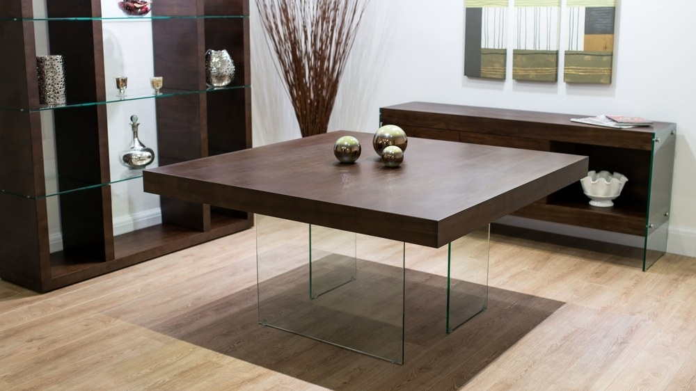 Dark Wood Square Dining Table | Glass Legs | Seats 6 – 8 Intended For Square Dining Tables (Image 6 of 25)