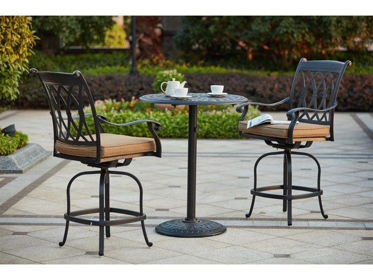 Darlee Outdoor Living Standard Capri Cast Aluminum 3-Piece Counter regarding Valencia 3 Piece Counter Sets With Bench