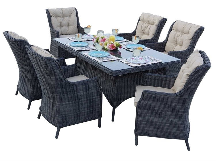 Darlee Outdoor Living Standard Valencia Wicker Dining Set | Valendinset6 Intended For Valencia 72 Inch 6 Piece Dining Sets (View 13 of 25)