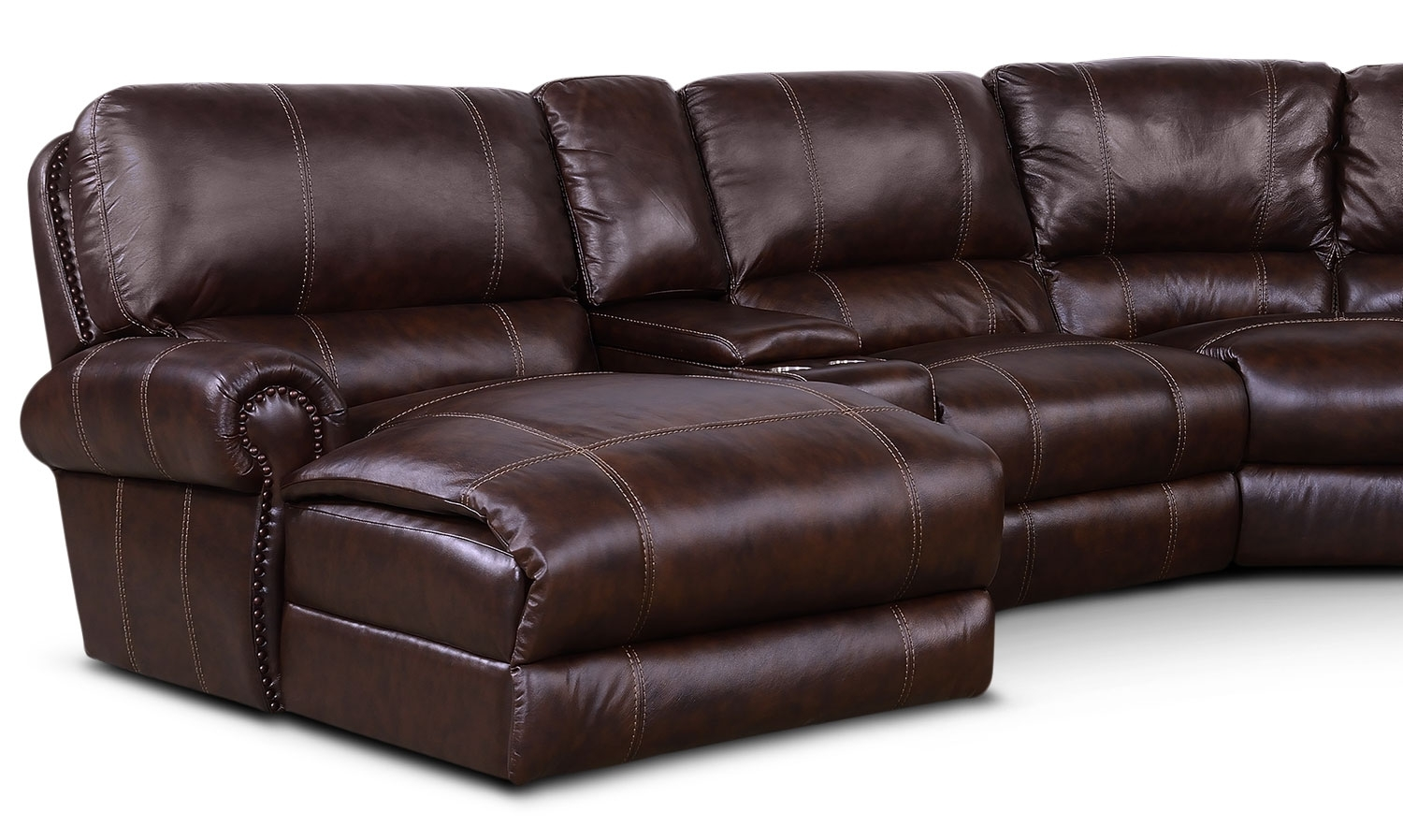 Dartmouth 6 Piece Power Reclining Sectional W/ Left Facing Chaise In Norfolk Chocolate 3 Piece Sectionals With Raf Chaise (Image 10 of 25)