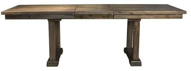 """Dawson 96"""" Trestle Table, Wire Brushed Timber Finish – Transitional Regarding Dawson Dining Tables (Image 4 of 25)"""