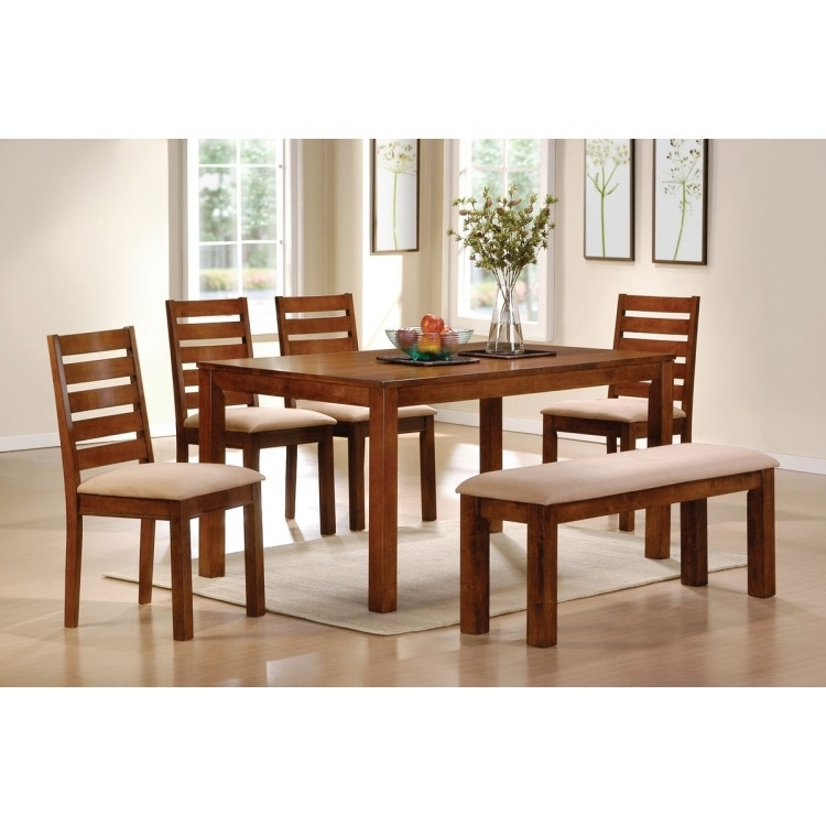 Dawson Walnut Finish 6Pc Dining Table Set Intended For Dawson Dining Tables (Image 17 of 25)