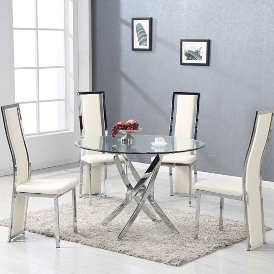 Daytona Round Glass Dining Table With 4 Collete Cream Regarding Glass Dining Tables (Image 3 of 25)