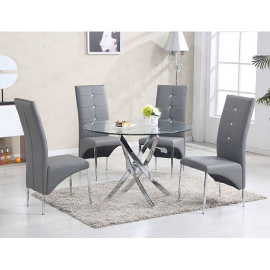 Daytona Round Glass Dining Table With 4 Vesta Grey Chairs With Grey Glass Dining Tables (Image 7 of 25)