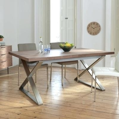 Decoration: Crossed Leg Walnut Extending Dining Table Sets John Intended For Extending Dining Sets (View 16 of 25)