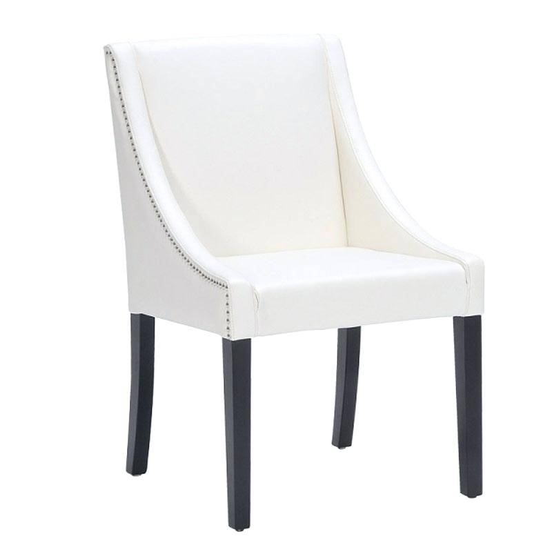 Decoration: Ivory Leather Dining Chair Oak Leg Room Chairs (Image 9 of 25)