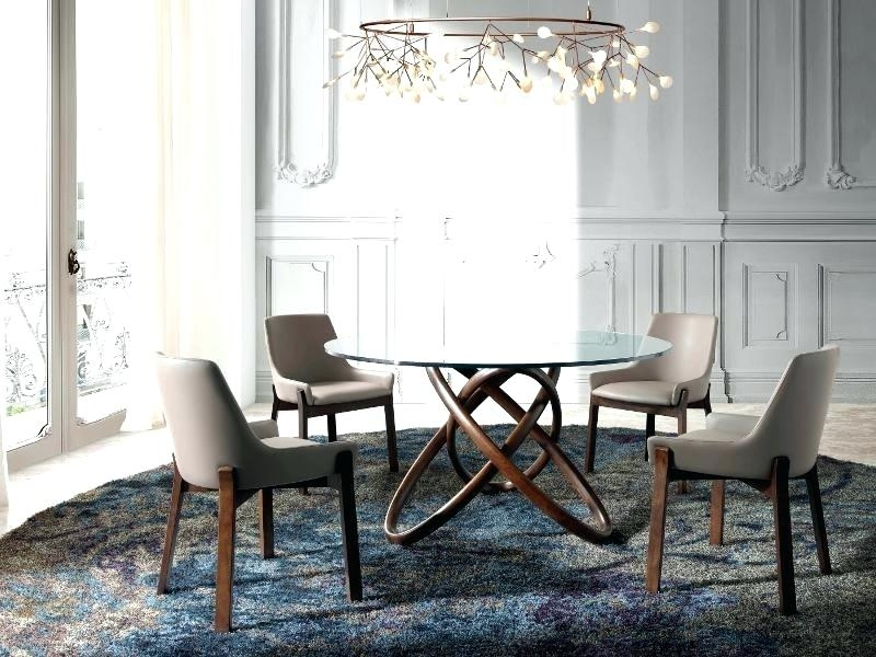 Decoration: Modern Round Glass Dining Table With Curved Walnut Base With Regard To Curved Glass Dining Tables (Image 10 of 25)