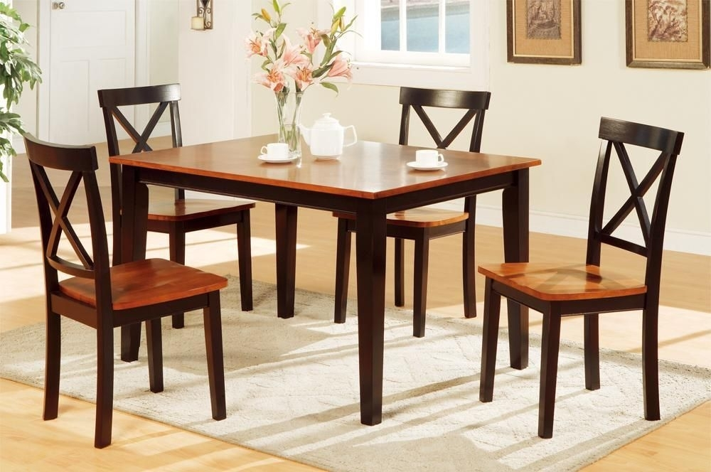 Decorous Rubber Wood 5 Pieces Dining Set In 2 Tone Brownpoundex With Regard To Laurent 5 Piece Round Dining Sets With Wood Chairs (Image 8 of 25)