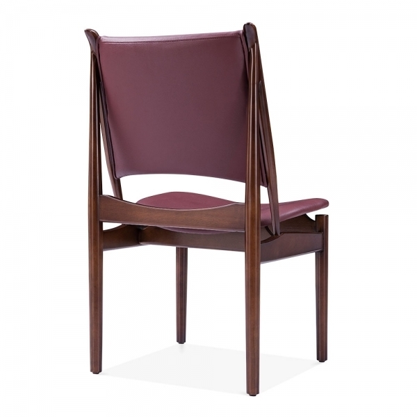 Deep Red Faux Leather Jonah Dining Chair | Kitchen Chairs In Purple Faux Leather Dining Chairs (Image 8 of 25)