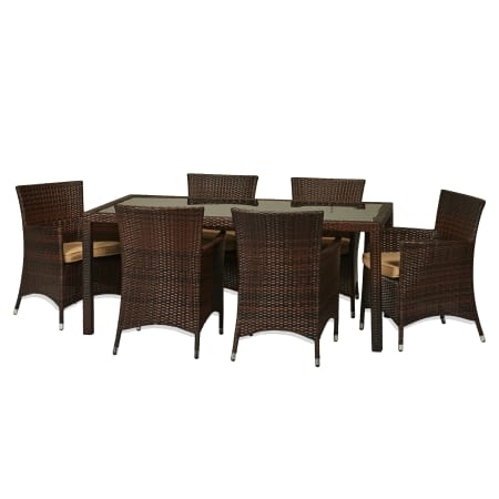 Delacora Sets Outdoor Furniture – Bs Bad114 In Cora 7 Piece Dining Sets (Image 11 of 25)