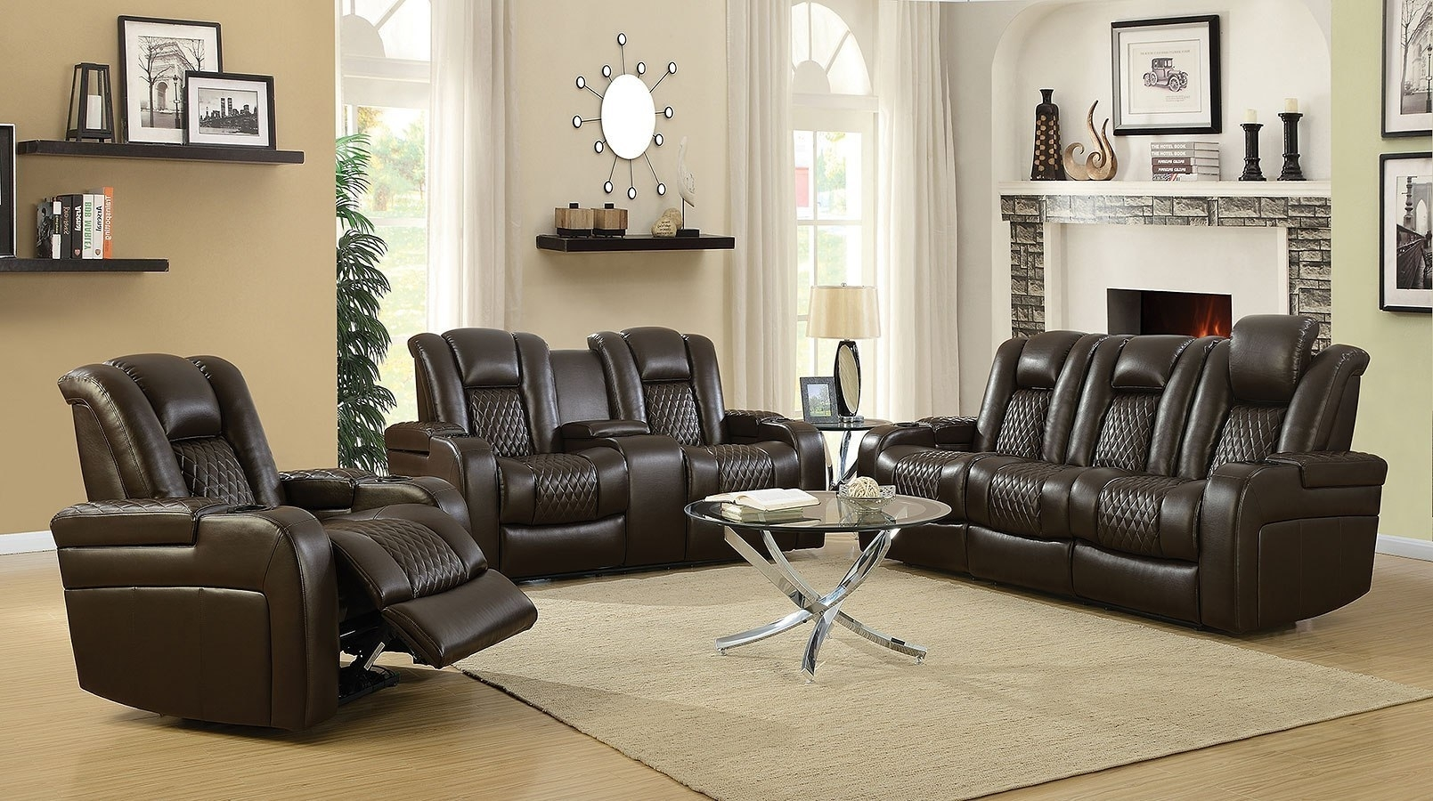 Delangelo Power Reclining Living Room Set (Brown) – Living Room Throughout Denali Light Grey 6 Piece Reclining Sectionals With 2 Power Headrests (View 19 of 25)