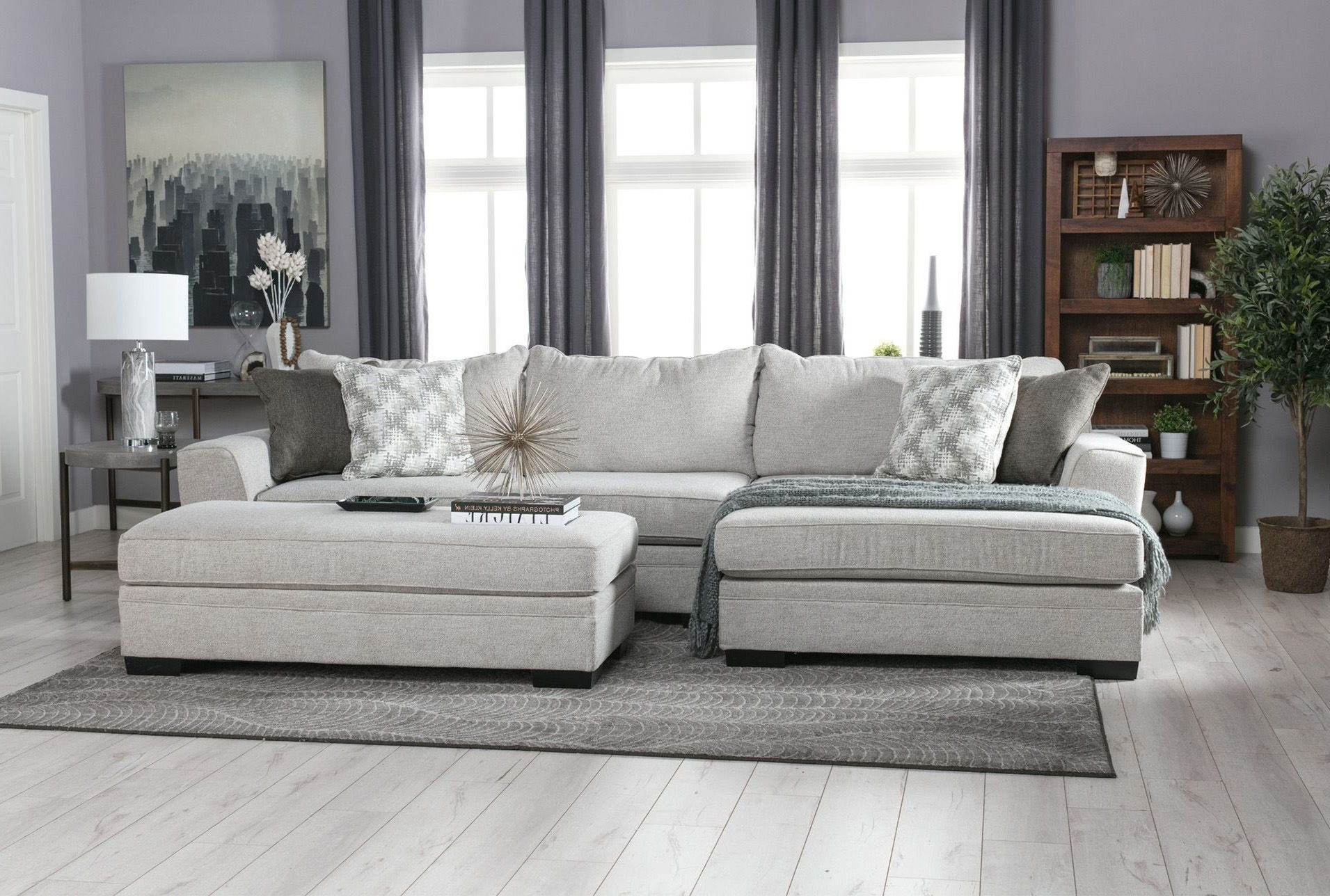 Delano 2 Piece Sectional W/raf Oversized Chaise | Living Room Ideas In Haven Blue Steel 3 Piece Sectionals (Image 9 of 25)