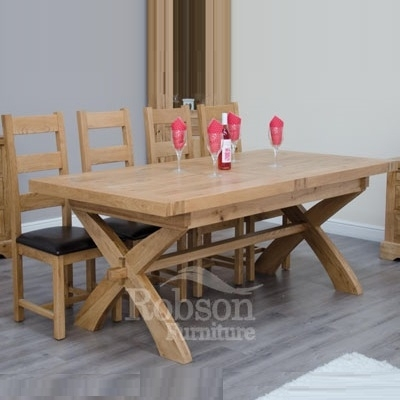 Delano Rustic Solid Oak Cross Leg Extending Dining Table within Rustic Oak Dining Tables