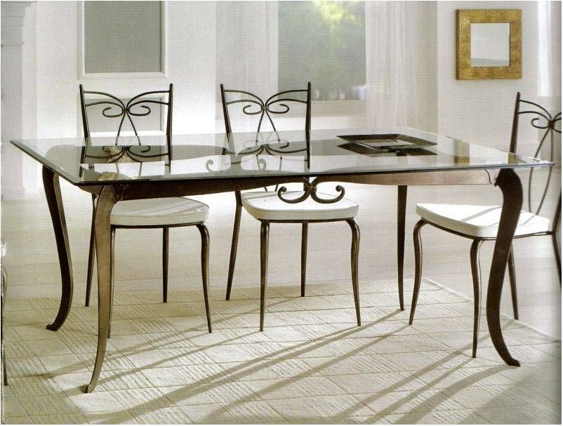 Delightful Black Glass Dining Table Set With 4 Faux Leather Chairs With Regard To Glass Dining Tables And 6 Chairs (Image 7 of 25)