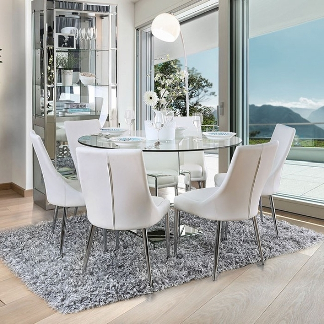 "Delilah Contemporary Modern 50"" Glass Top Dining Table With Mirrored Regarding Contemporary Base Dining Tables (Image 7 of 25)"