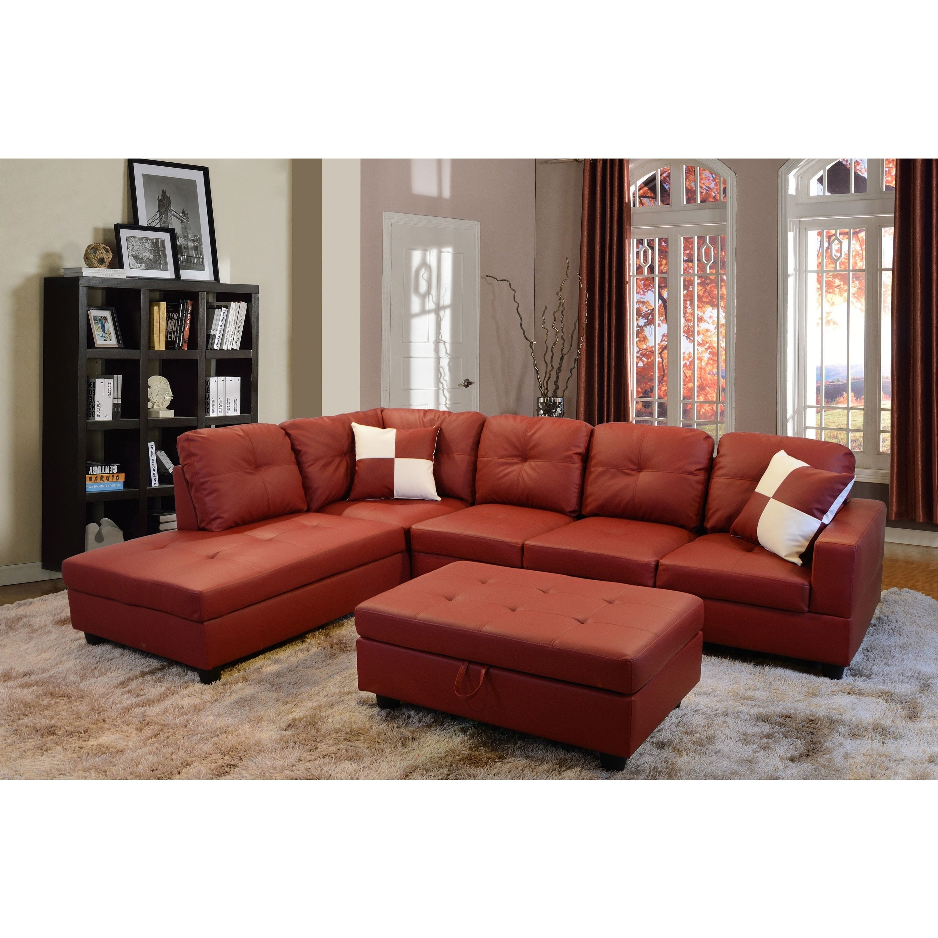 Delma 3 Piece Red Faux Leather Furniture Set (Delma 3 Pc Faux In Tenny Dark Grey 2 Piece Left Facing Chaise Sectionals With 2 Headrest (Image 10 of 25)