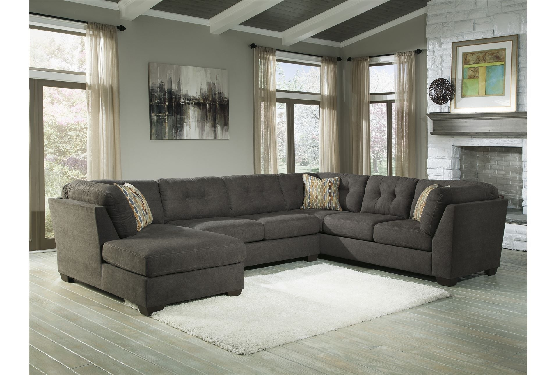 Delta City Steel 3 Piece Sectional W/laf Chaise  Living Room Option With Regard To Haven Blue Steel 3 Piece Sectionals (Image 11 of 25)