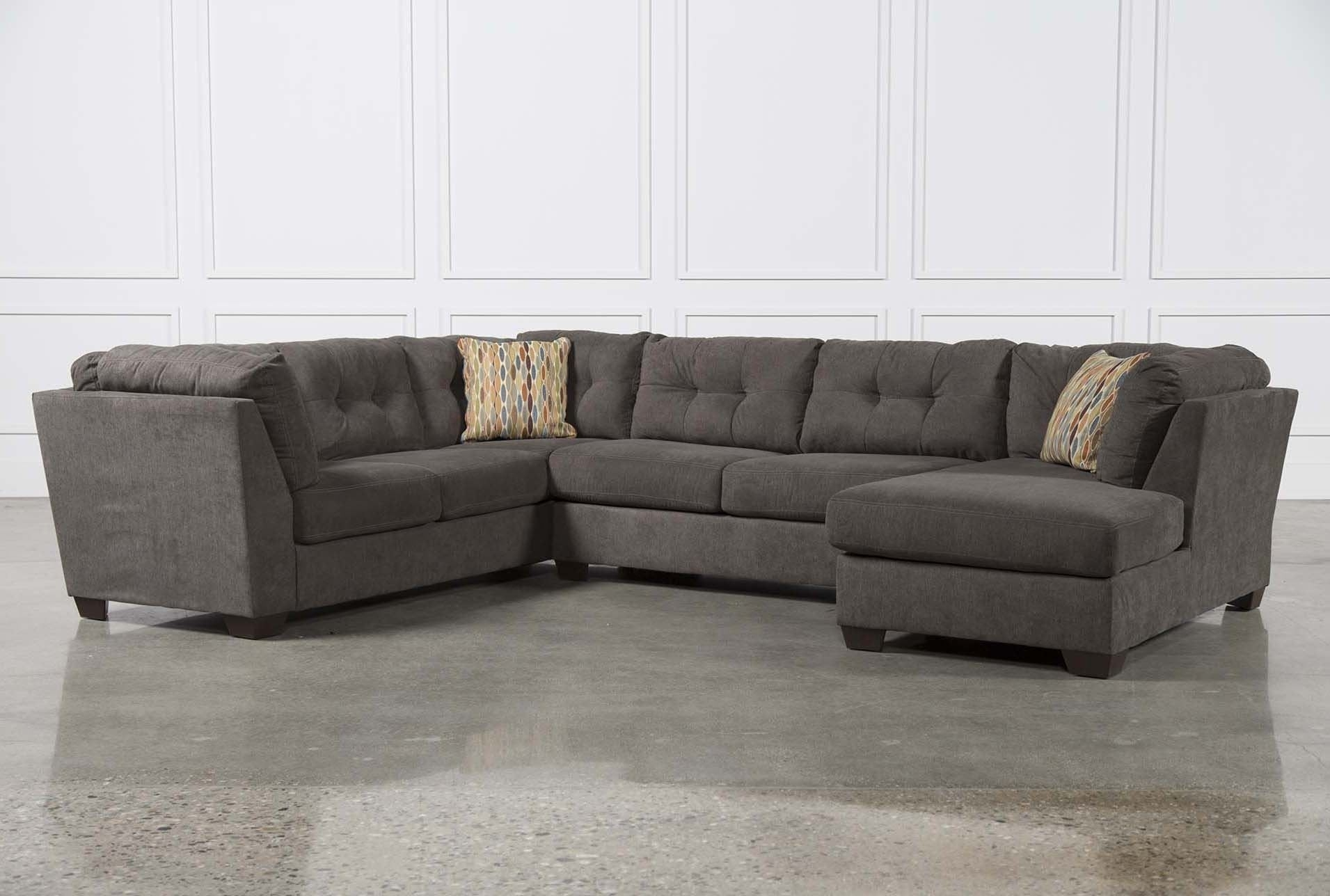 Delta City Steel 3 Piece Sectional W/raf Chaise – Living Spaces Inside Meyer 3 Piece Sectionals With Raf Chaise (Image 8 of 25)