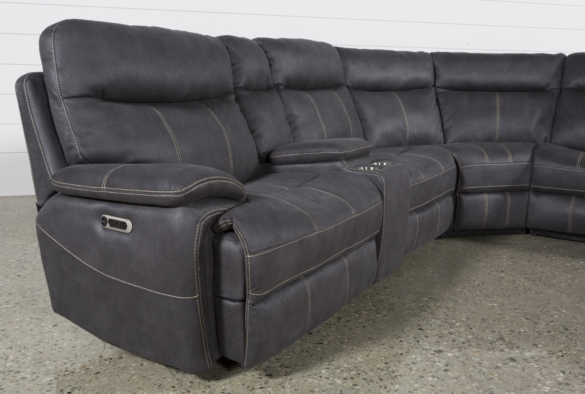Denali Charcoal Grey 6 Piece Reclining Sectional W/2 Power Headrests Throughout Waylon 3 Piece Power Reclining Sectionals (Image 10 of 25)