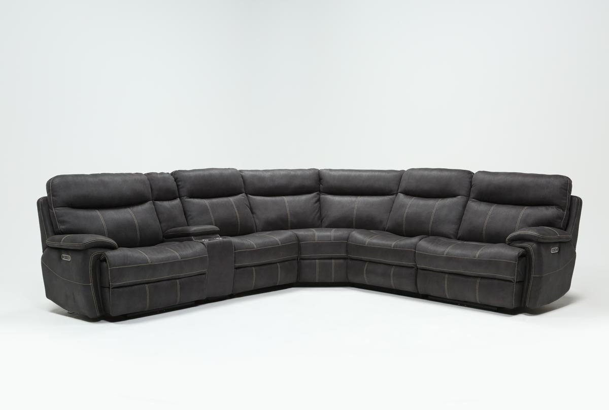 Denali Charcoal Grey 6 Piece Reclining Sectional W/2 Power Headrests With Denali Light Grey 6 Piece Reclining Sectionals With 2 Power Headrests (Image 6 of 25)