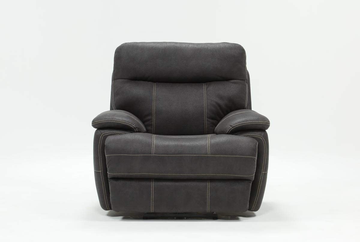 Denali Charcoal Grey Power Recliner W/power Headrest & Usb | Living Pertaining To Denali Charcoal Grey 6 Piece Reclining Sectionals With 2 Power Headrests (Image 15 of 25)