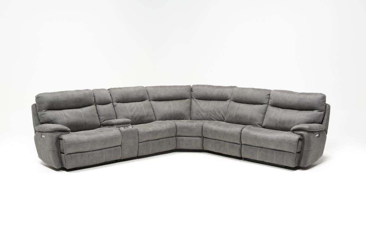 Denali Light Grey 6 Piece Reclining Sectional W/2 Power Headrests Inside Denali Light Grey 6 Piece Reclining Sectionals With 2 Power Headrests (Image 8 of 25)