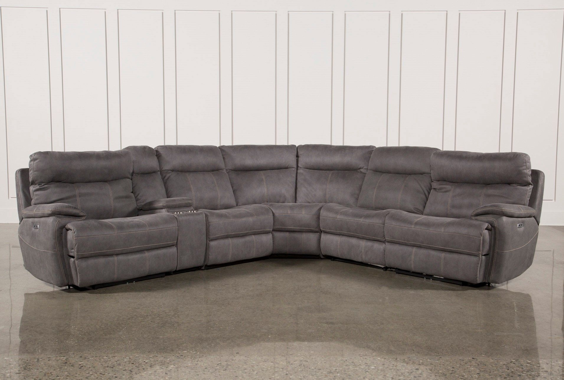 Denali Light Grey 6 Piece Reclining Sectional W/2 Power Headrests With Norfolk Grey 6 Piece Sectionals (Image 6 of 25)