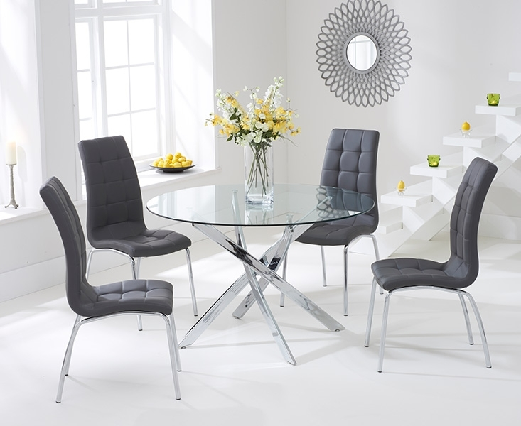 Denver 110Cm Glass Dining Table With Calgary Chairs Pertaining To Dining Room Glass Tables Sets (Image 11 of 25)