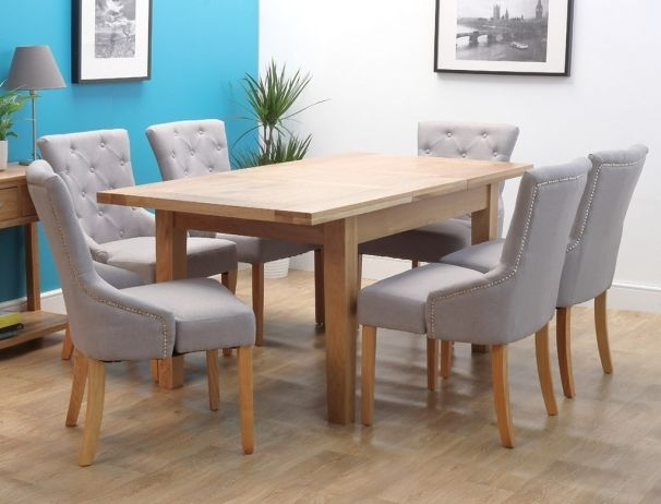 Denver Oak Extending Single Leaf Dining Set With 6 Chairs Throughout Light Oak Dining Tables And 6 Chairs (View 15 of 25)