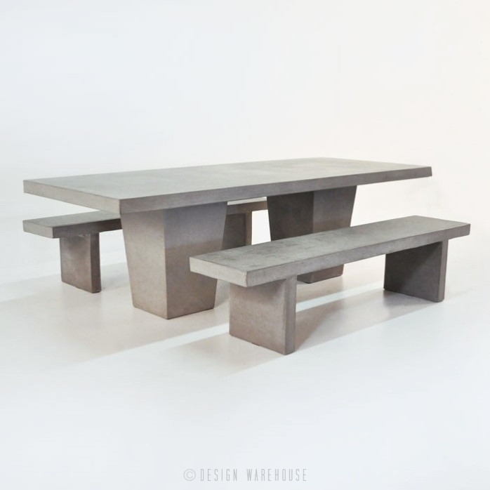 Design Warehouse   Raw Concrete Table With 2 Benches In Dining Tables And 2 Benches (Image 13 of 25)