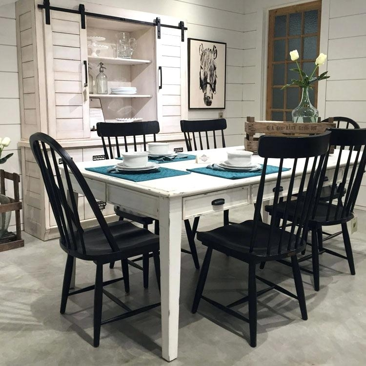 Designed Farmhouse Kitchen Table Chairs And China Cabinet From Her Pertaining To Magnolia Home Sawbuck Dining Tables (View 25 of 25)