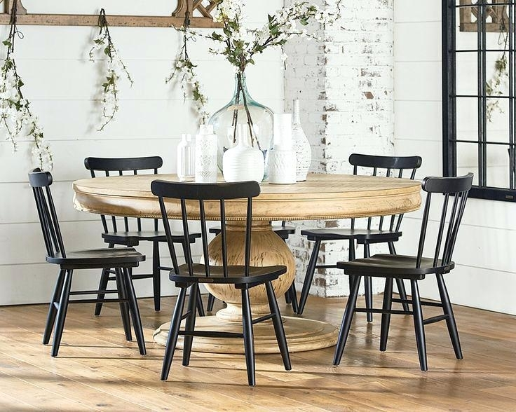 Designed Farmhouse Kitchen Table Chairs And China Cabinet From Her With Magnolia Home Shop Floor Dining Tables With Iron Trestle (Image 2 of 25)