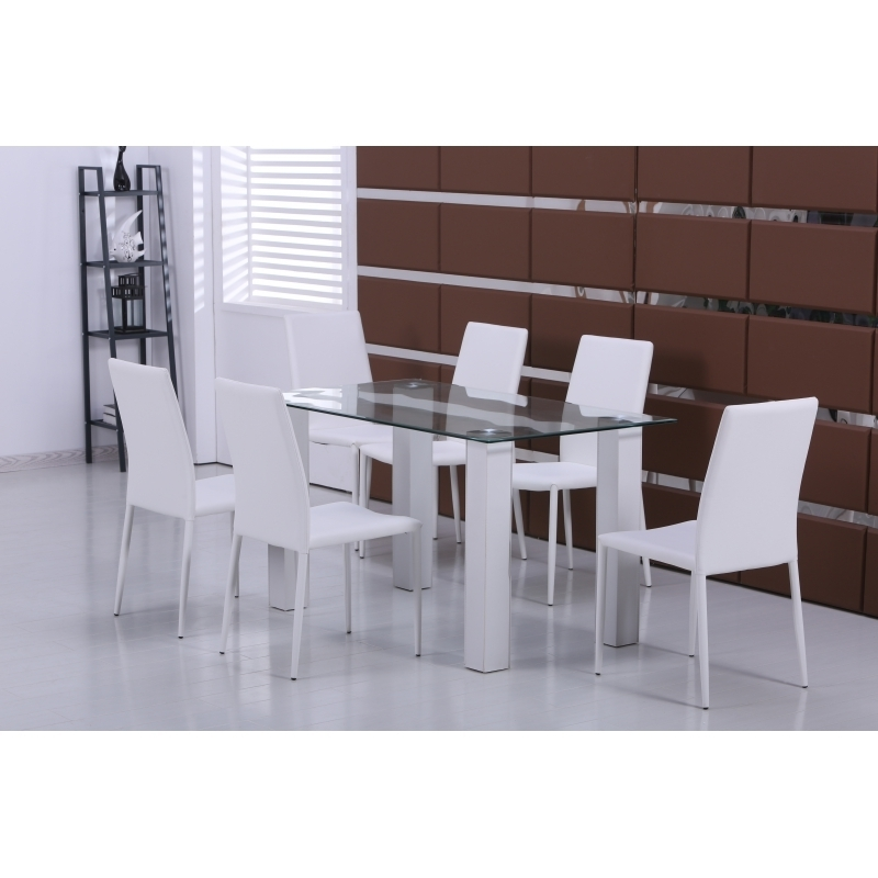 Designer Clear Glass Dining Table With 6 White Faux Leather Chairs For Clear Glass Dining Tables And Chairs (Image 9 of 25)