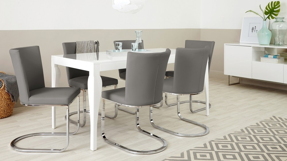 Designer Faux Leather And Chrome Dining Chair | Uk Exclusive Within Grey Dining Chairs (Photo 23 of 25)