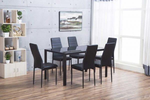 Designer Rectangle Black Glass Dining Table & 6 Chairs Set In Black Glass Dining Tables And 6 Chairs (View 8 of 25)