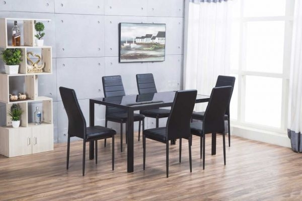 Designer Rectangle Black Glass Dining Table & 6 Chairs Set Regarding Roma Dining Tables And Chairs Sets (View 14 of 25)