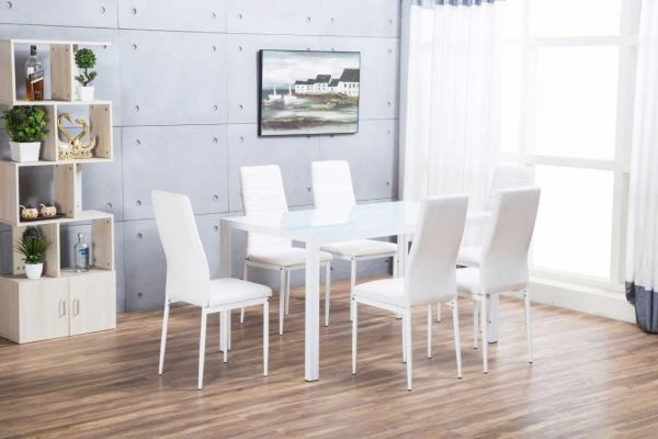 Designer Rectangle White Dining Table & 6 Chairs Set | Furniturebox Pertaining To White Dining Tables (Image 6 of 25)