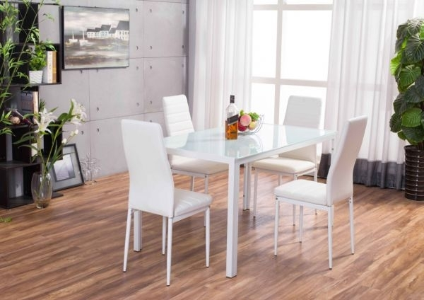 Designer White Glass Dining Table & Chairs Set | Furniturebox With White Glass Dining Tables And Chairs (Image 9 of 25)