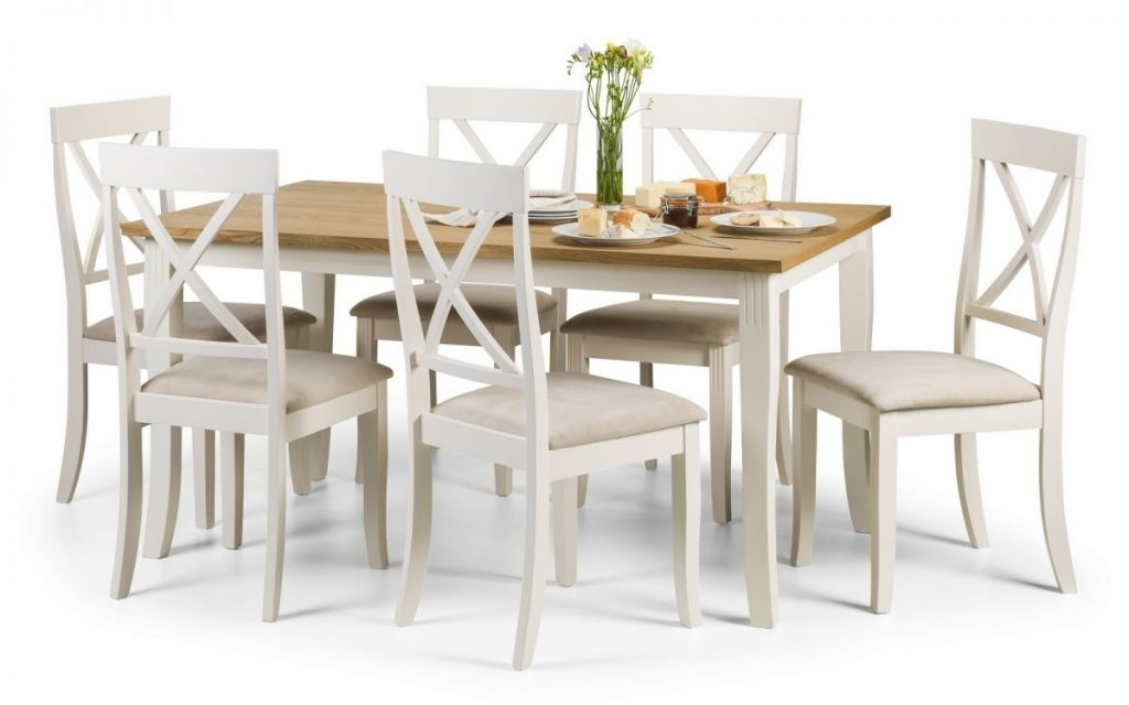 Devon Ivory & Oiled Oak Dining Table & 6 Chairs.l150Cm X W90Cm X H75Cm (Image 5 of 25)