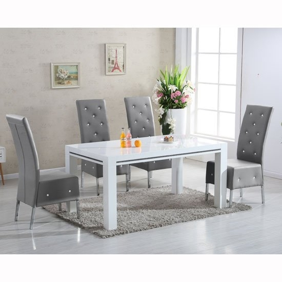 Diamante High Gloss Dining Table With 6 Asam Grey Chairs With Regard To Dining Tables Grey Chairs (Image 4 of 25)