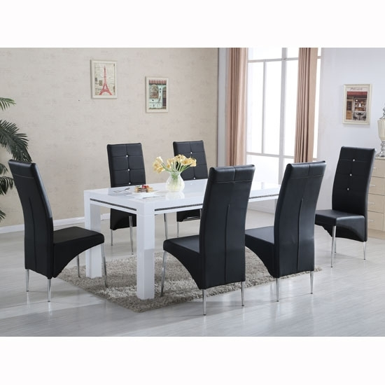 Diamante High Gloss Dining Table With 6 Vesta Black Chairs With Regard To Black Gloss Dining Tables And 6 Chairs (Image 6 of 25)