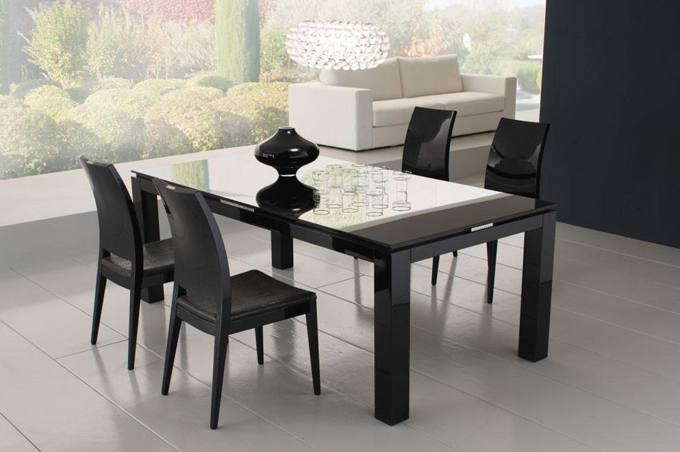 Diamond Black Dining Table With Glass Top | Dining Tables With Black Dining Tables (Image 12 of 25)